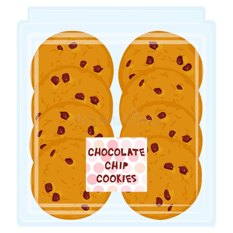 Cookie feito à mão dos pedaços de chocolate, cozida recentemente no pacote transparente da caixa plástica isolado no fundo branco ilustração royalty free