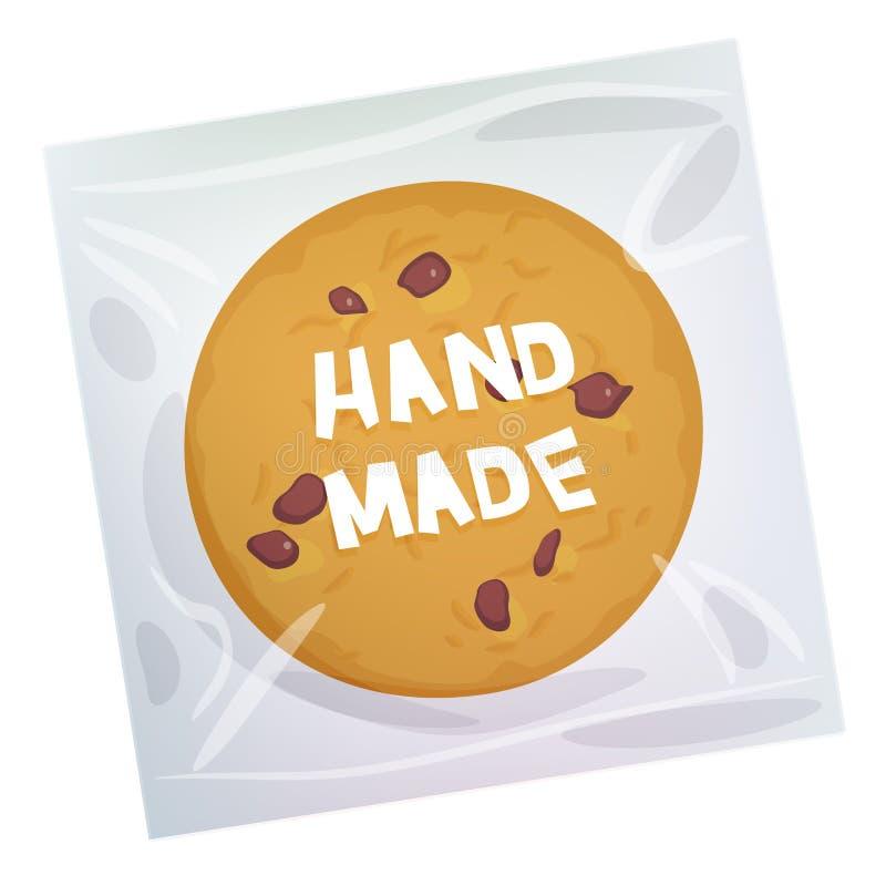 Cookie feito à mão dos pedaços de chocolate, cozida recentemente quatro cookies no pacote plástico transparente isolado no fundo  ilustração do vetor
