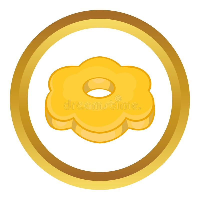 Cookie flower shaped icon. In golden circle, cartoon style isolated on white background vector illustration