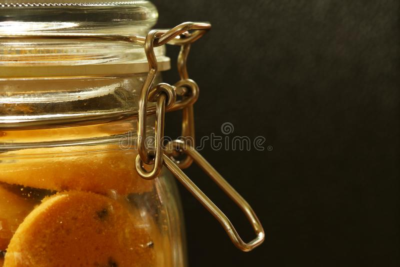 Cookie in the glass jar. stock photos