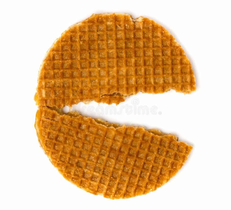 cookie holandesa Metade-quebrada em um branco A vista da parte superior imagem de stock royalty free