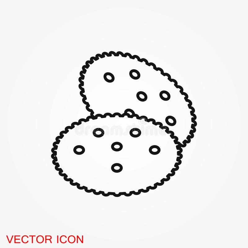 Cookie icon. Biscuit cookie or biscotti vector icon. Isolated on background stock illustration