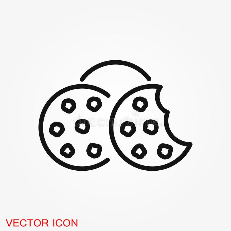 Cookie icon. Biscuit cookie or biscotti vector icon. Isolated on background royalty free illustration