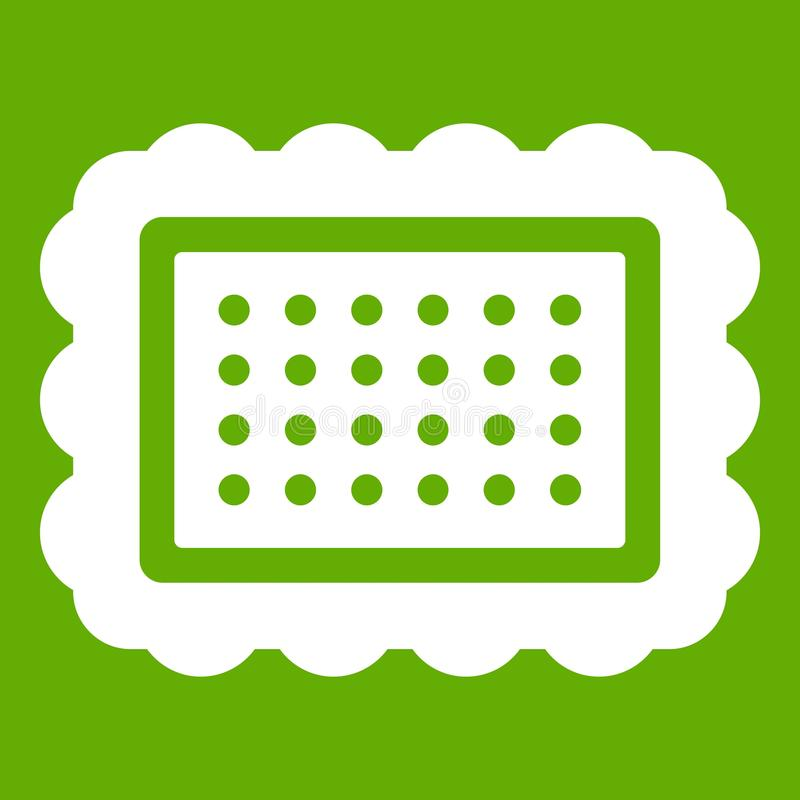 Cookie icon green. Cookie icon white isolated on green background. Vector illustration vector illustration