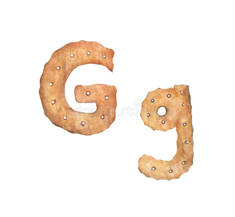 Cookie letter G on white background. Cookie font. Food sign ABC.  vector illustration
