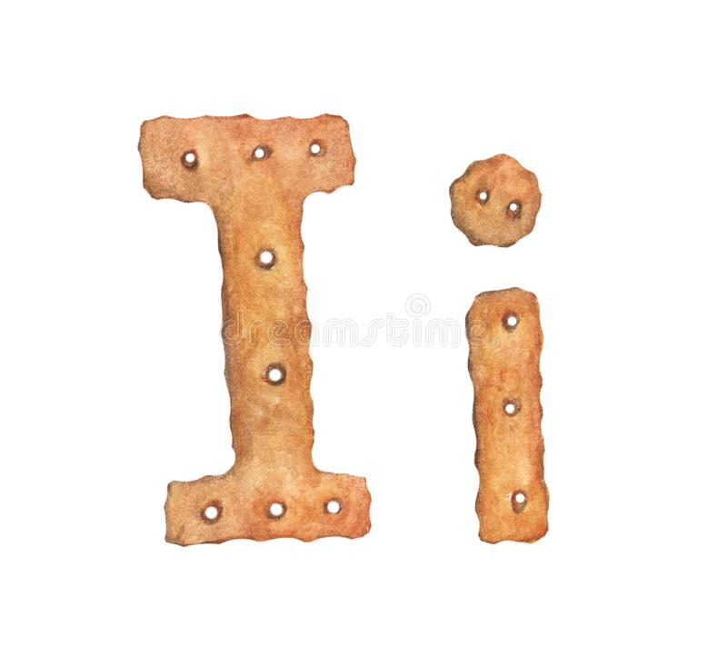 Cookie letter I on white background. Cookie font. Food sign ABC.  stock illustration