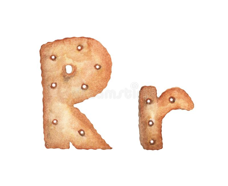 Cookie letter R on white background. Cookie font. Food sign ABC.  stock illustration