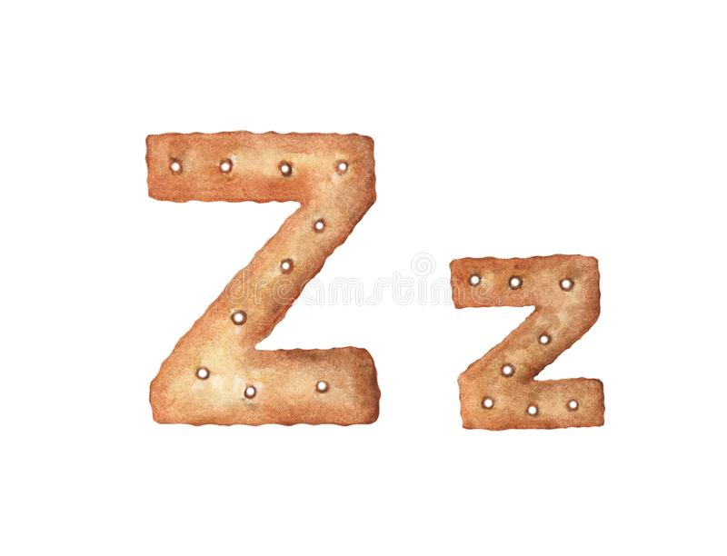 Cookie letter Z on white background. Cookie font. Food sign ABC.  vector illustration