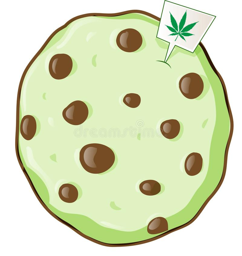 Cookie with marijuana flavor. Vetcor illustration stock illustration