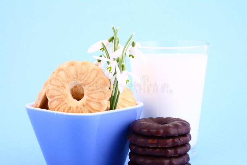 Download Cookie nad milk stock image. Image of dessert, stack, drink - 2068721