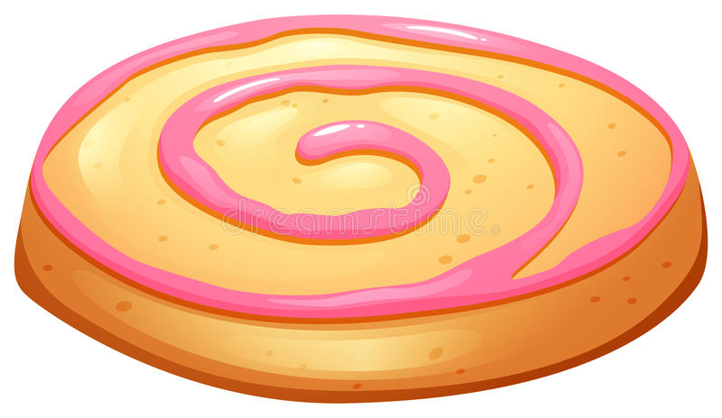 Cookie with pink frosting. Illustration royalty free illustration