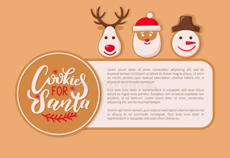 Cookie for Santa Claus Poster with Text Sample. Vector. Reindeer animal cookie, snowman winter character with carrot nose, deer with horns baked snacks vector illustration