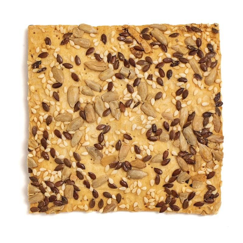 Cookie with sunflower seeds isolated on white background. Top view stock images