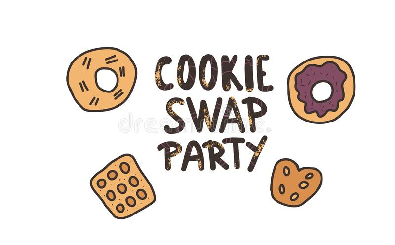 Cookie Swap lettering. Vector concept design. Cookie Swap Party concept with quote and pastry. Hand lettering with doodle style decoration. Lettering for event royalty free illustration