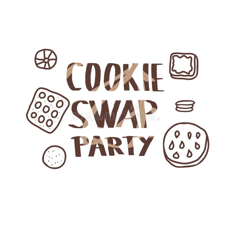 Cookie Swap lettering. Vector concept design. Cookie Swap Party concept with quote and pastry. Hand lettering with doodle style decoration. Lettering for event stock illustration