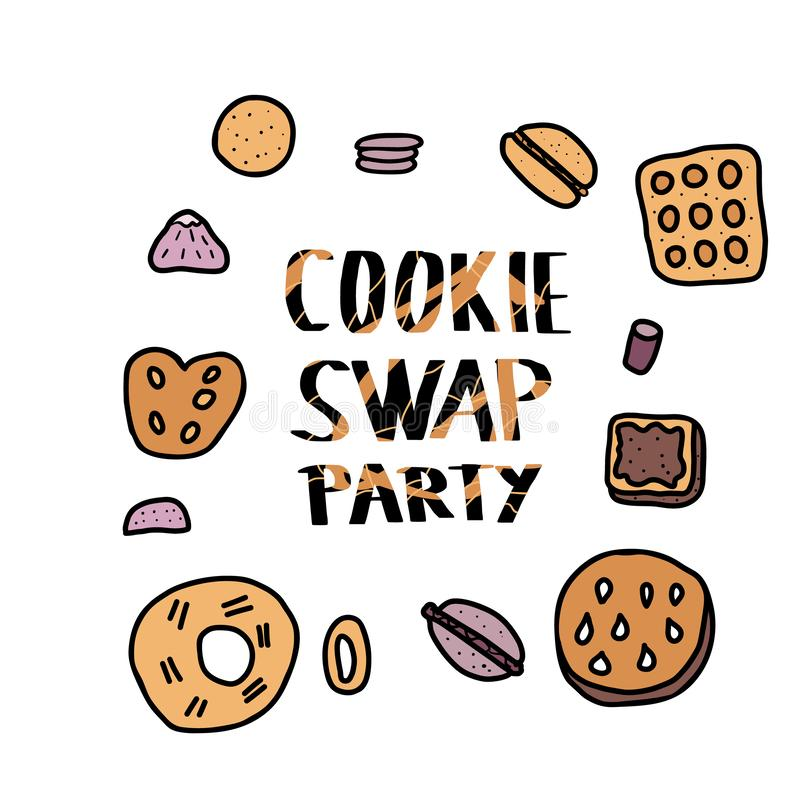 Cookie Swap lettering. Vector concept design. Cookie Swap Party concept with quote and pastry. Hand lettering with doodle style decoration. Lettering for event vector illustration