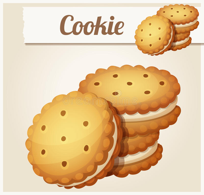 Cookie with white cream. Detailed vector icon royalty free illustration
