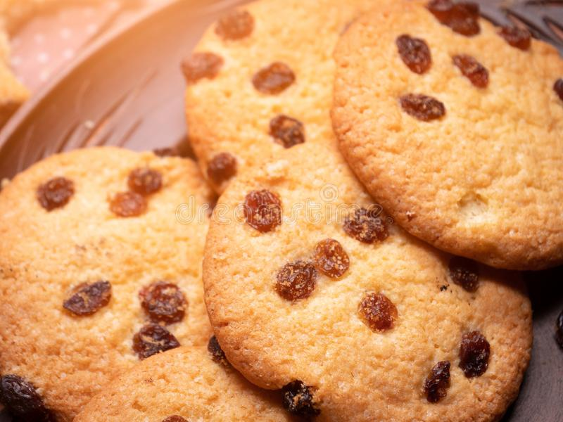 Cookies americanas apetitosas Close-up fotografia de stock