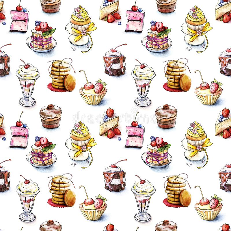 Seamless pattern of the sweet cakes. Cookies associated with string isolated on white background. Drawn by hand watercolor. Cookies associated with string royalty free illustration