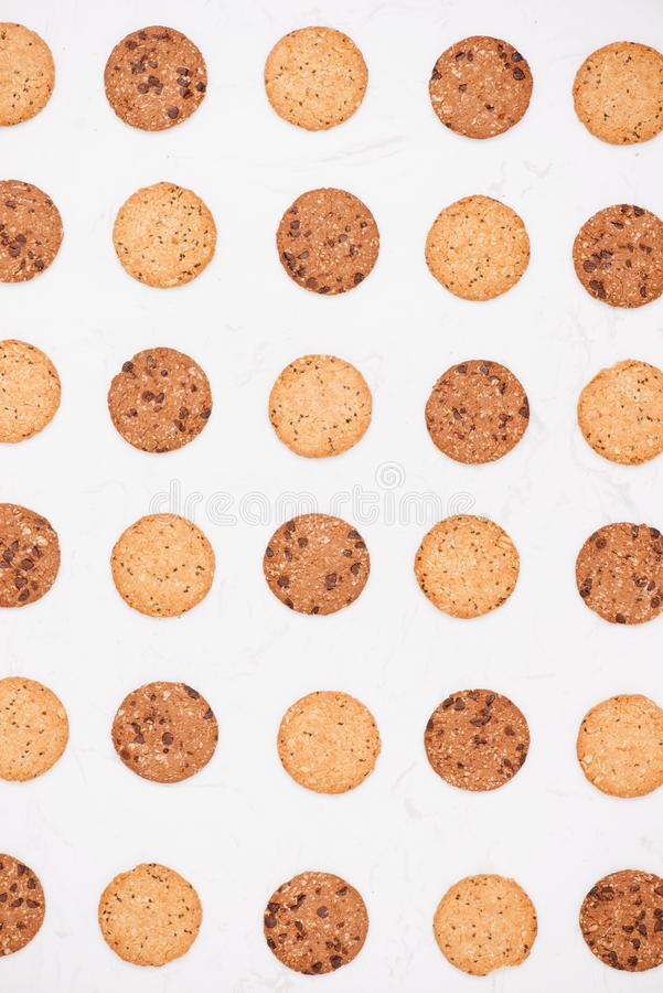 Cookies background. Chocolate chips biscuits texture background. stock images