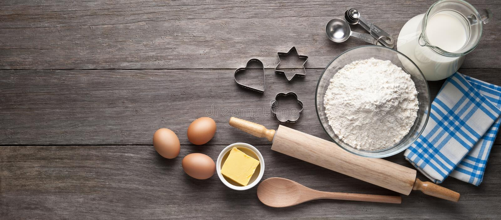 Cookies Baking Wood Ingredients Background royalty free stock photos