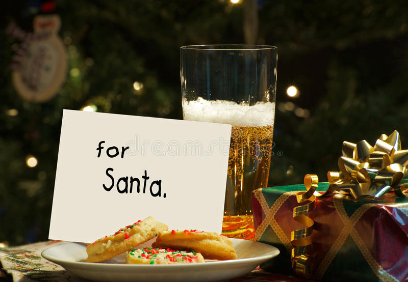 Cookies and beer for santa. stock photo