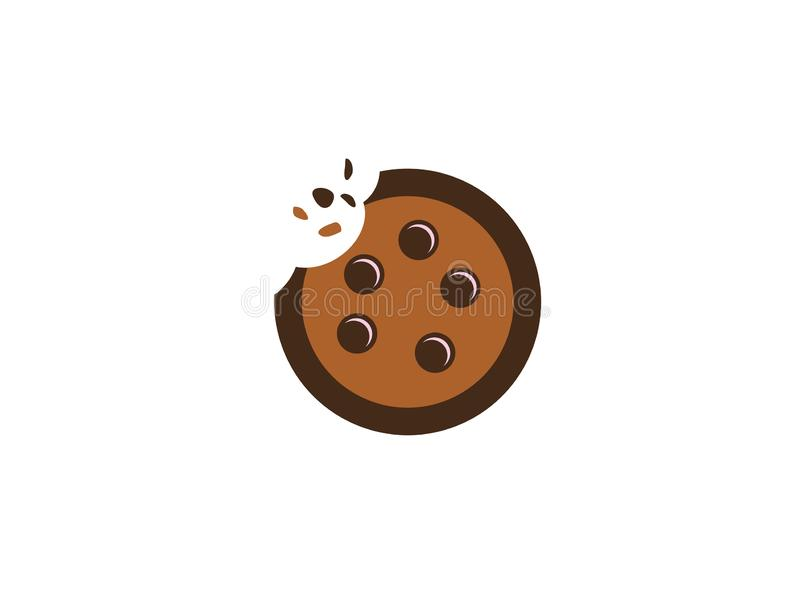 Cookies biscuits cracked with chocolate for logo. Esign illustration, eating cake icon royalty free illustration