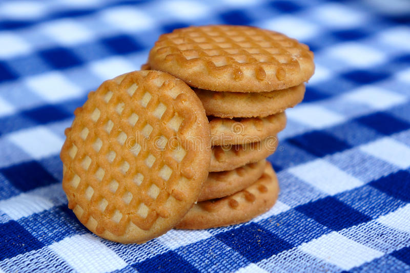 Download Cookies On A Blue Checkered Tablecloth Stock Photo - Image: 28400724