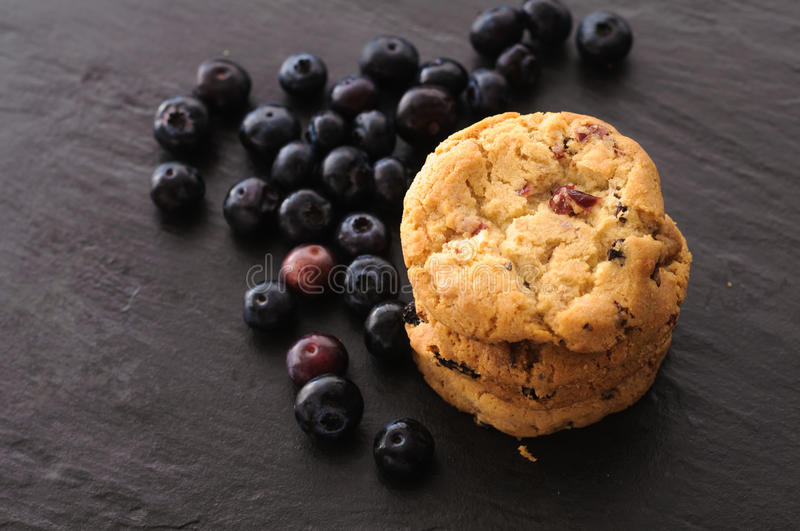 Cookies and blueberries royalty free stock image