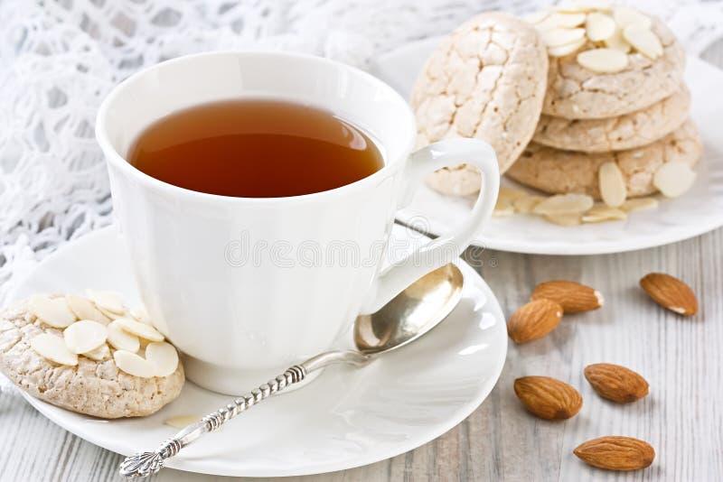 Cookies brancas do chá e de amêndoa do copo fotografia de stock