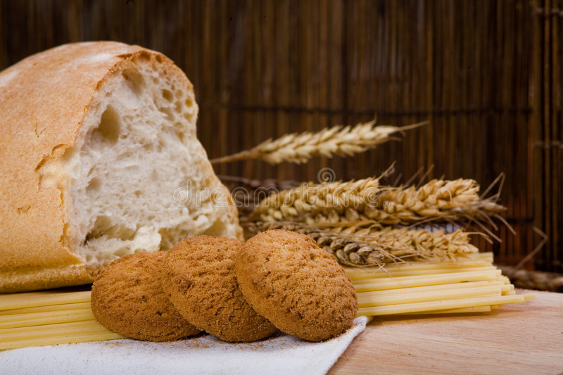 Cookies, bread and spaghetti with grain