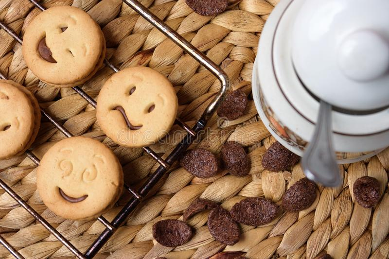 Chocolate cookies on wooden table. Chocolate chip cookies shot royalty free stock photo