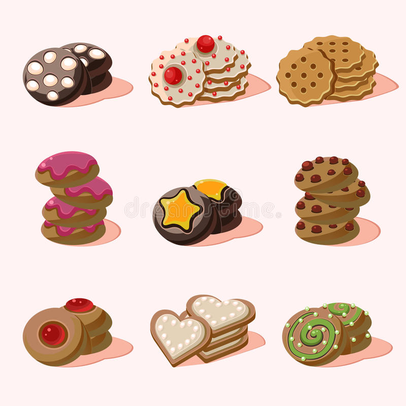 Cookies of Cartoon Vector Food Icons vector illustration