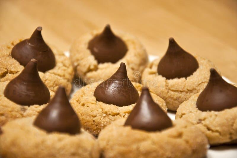 Cookies caseiros deliciosas da gota de chocolate da manteiga de amendoim imagens de stock royalty free