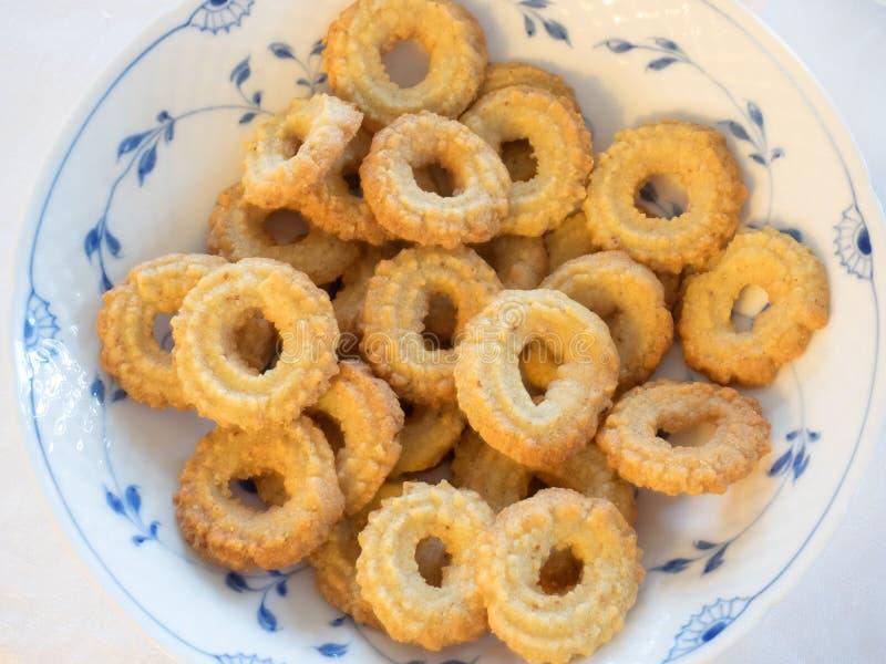 Cookies caseiros dinamarquesas tradicionais do Natal da baunilha fotografia de stock royalty free