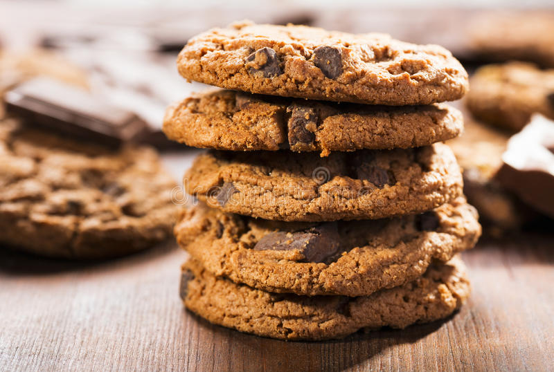 Cookies with chocolate stock images