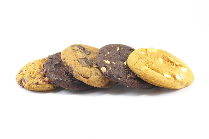 Cookies. Chocolate chip nut fruit cookies on white background stock photography