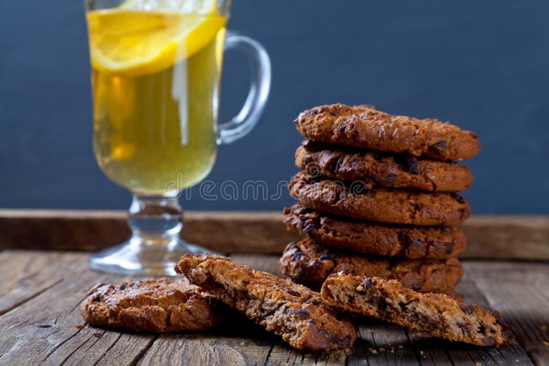 Cookies with chocolate pieces for tea royalty free stock photo