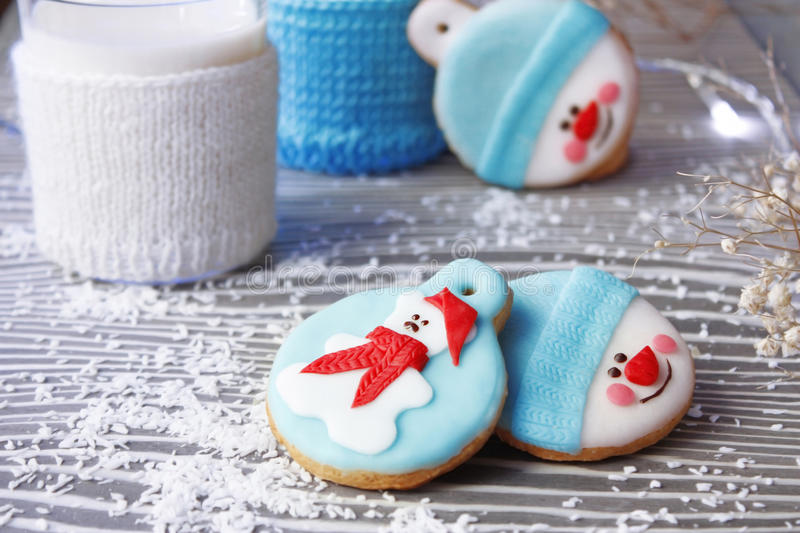 Cookies. Christmas funny handmade edible cookies royalty free stock photo