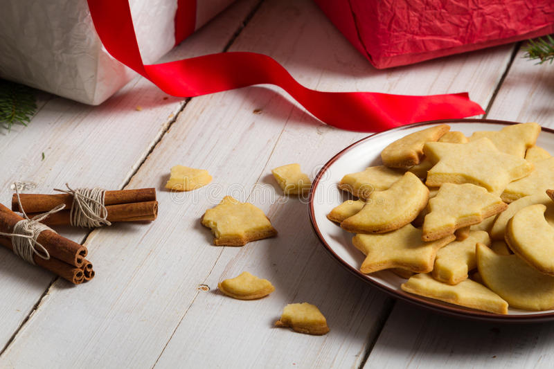 Cookies with Christmas gifts royalty free stock image