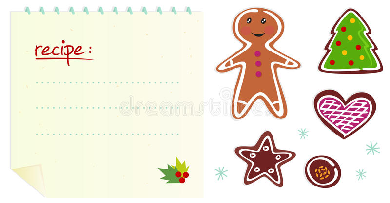 Cookies Or Christmas Icons With Recipe Stock Photos