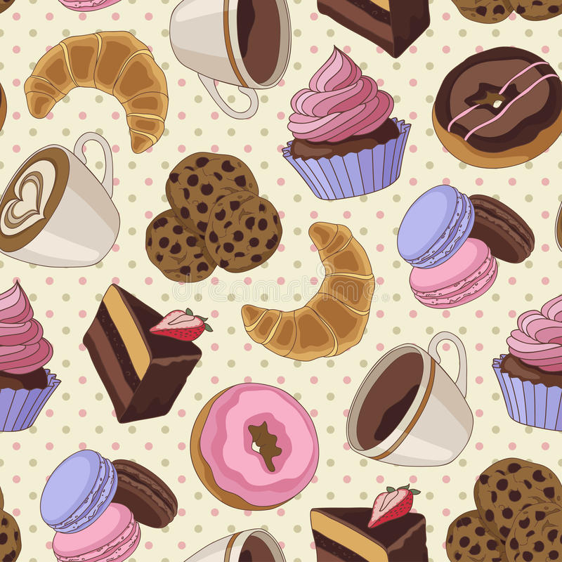 Cookies and coffee pattern, light yellow royalty free illustration
