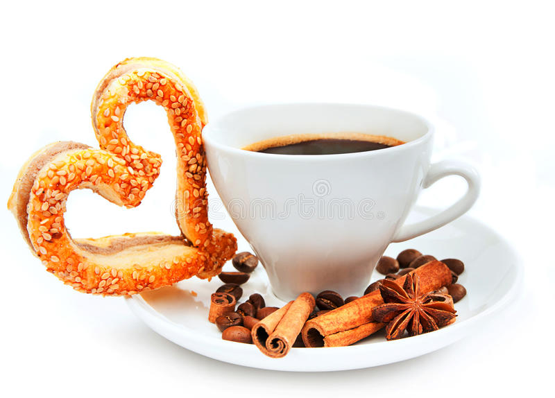 Cookies and cup of coffee stock photos