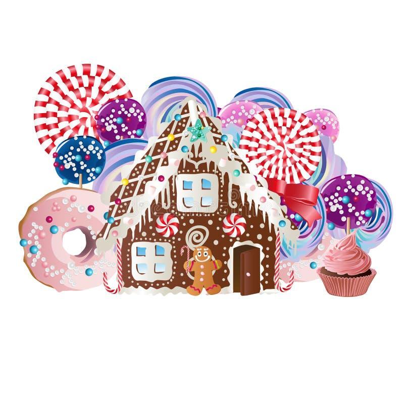 Cookies da casa de pão-de-espécie e do homem de pão-de-espécie ilustração stock