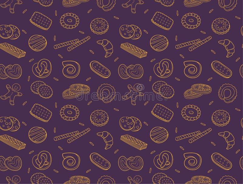 Cookies da garatuja e teste padrão sem emenda do biscoito ilustração stock