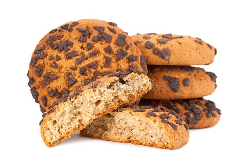 Cookies de farinha de aveia no branco fotos de stock