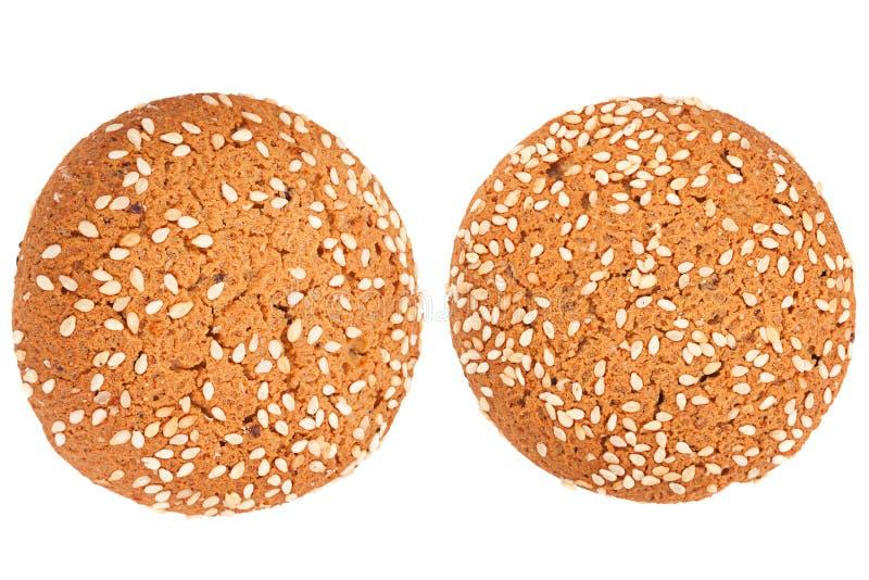 Cookies de farinha de aveia no branco imagens de stock royalty free