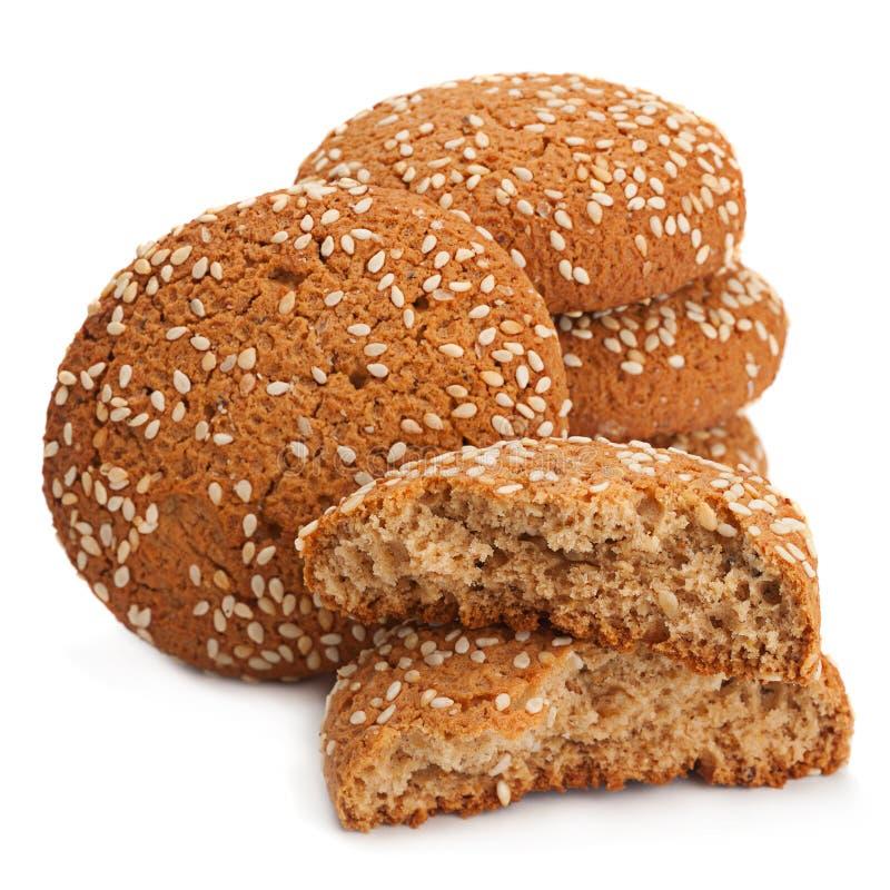Cookies de farinha de aveia no branco imagem de stock
