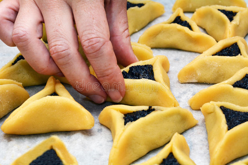 Cookies de Hamentashen Ozen Haman Purim fotos de stock royalty free