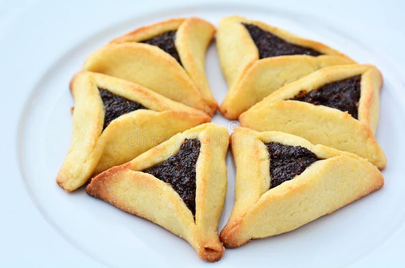 Cookies de Hamentashen Ozen Haman Purim fotografia de stock